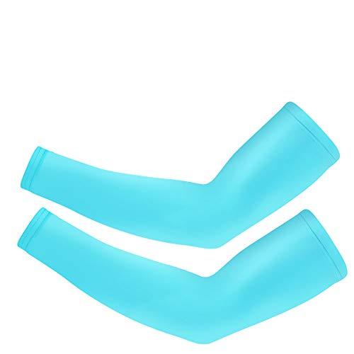 (ZLZL Arm Sleeve Outdoor Sports Sunscreen Sleeves Cover Hand Arm Elbow Protector Gear Basketball Football Long Sleeves Ice Silk Sunscreen Cuff,Cblue)