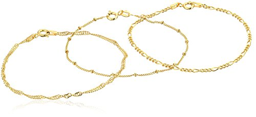 Silver Bead Set - Gold Plated Sterling Silver Set of Three Singapore, Figaro and Bead Station Chain Bracelet, 7