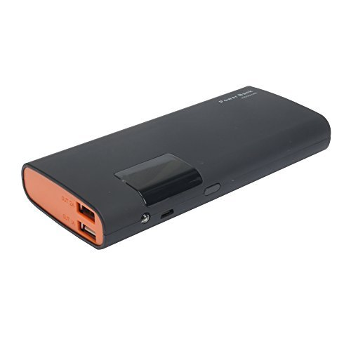 15000mAh Power Bank( Portable Charger) with LCD Display, Build-in LED Flashlight, 2-Port Output External Battery for iPhone, iPad, Samsung Galaxy, HTC and more --Tinkon (Black)