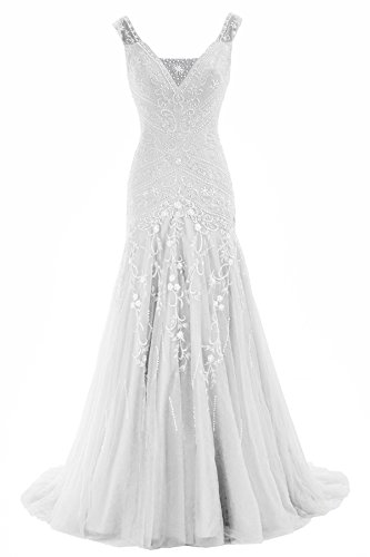 COCOMELODY Trumpet V Neck Long Beaded Prom Wedding Dress Bmmc0009 Ivory 00 (Cute Costumes For Pregnant Women)
