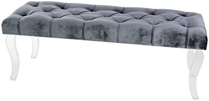 Deco 79 48 x 17 Wood And Acrylic Velour Bench, Gray Clear