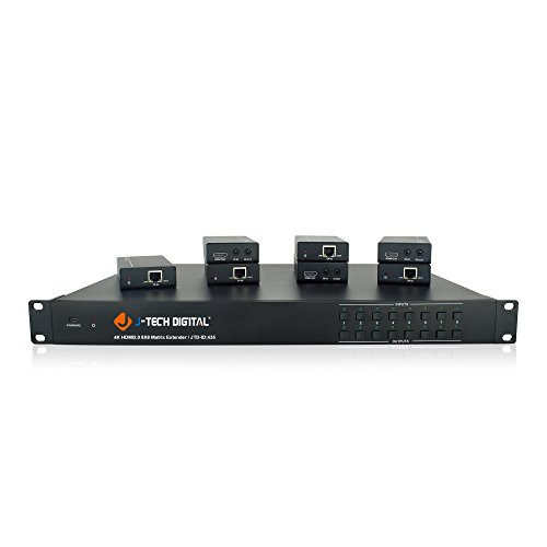 J-Tech Digital 4K@60HZ 8x8 HDBaseT Matrix with 7 Receivers (PoC), Supports 4Kx2K@60HZ 4:2:0, HDCP 2.2 IR, SPDIF, RCA, TCP/IP, RS232, EDID with Control 4 Driver Available