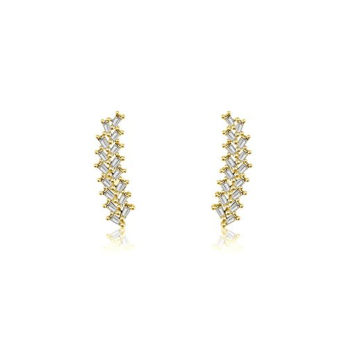 Genevieve Collection 14k Gold Arrow Shape with Rectangle Diamond Earring (0.44 ct.) (Yellow, Gold) ()