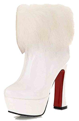 Easemax Womens Sweet Fluffy Brunito Tacco Tacco Piattaforma Alti Stivali Cerniera Grosso Bianco
