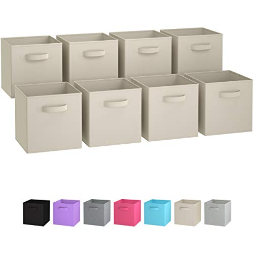 Royexe Storage Bins - Set of 8 - Storage Cubes | Foldable Fabric Cube Baskets Features Dual Handles. Cube Storage Bins. Closet Shelf Organizer | Collapsible Nursery Drawer Organizers (Beige) ()