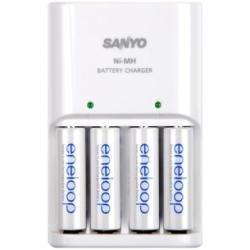 Sanyo Eneloop Standard Charger Set + 4AA batteries - Cargador (230V, 50/60 Hz, AA, 10h, 2000 mAh, 230g) Color blanco