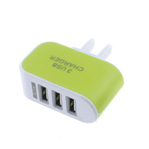 ❤️Gmgod❤️3.1A Triple USB Port Wall Home Travel AC Charger Adapter for (Green)