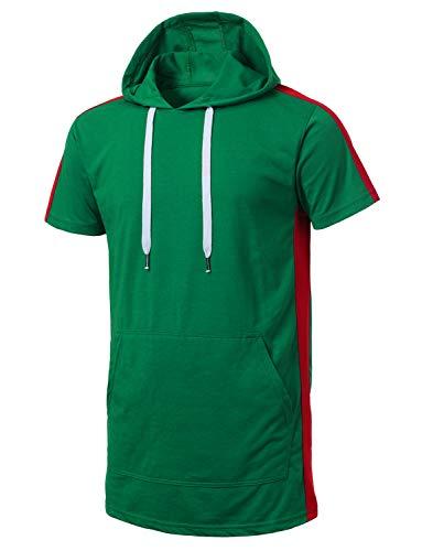 URBANCREWS Mens Hipster Hip Hop Shortsleeve Fashion Hoodie - Green - L (For Men Sleeve Hoodies Short)