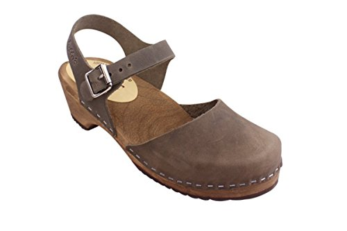 Lotta From Stockholm Swedish Clogs Low Wood in Taupe on Brown Base-39