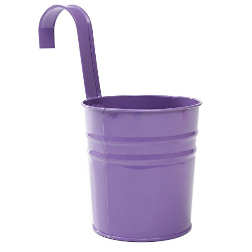 Hosaire Metal Hanging Flower Pots Tin Basket Bucket Planters Mountable Garden Patio Holder Pot Purple