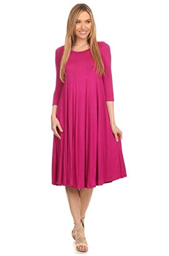 """Love My Seamless Womens Knee Length Tunic Loose Fit 3/4"""" Sleeves Soft Knit Dress"""