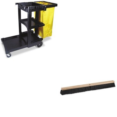 KITBWK20636RCP617388BK - Value Kit - Boardwalk Floor Brush Head (BWK20636) and Rubbermaid Cleaning Cart with Zippered Yellow Vinyl Bag, Black (RCP617388BK) by Boardwalk