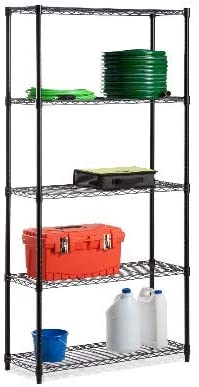 Honey Can Do 5-Shelf Steel Storage Shelving Unit Black bundle with Honey Can Do 4 Casters with 2 Locking Wheels Pack of 4