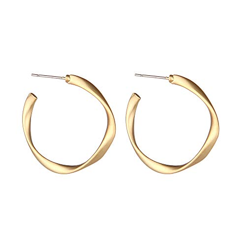 Barch Young Twisted Hoop Earrings for Girls, 14K Gold-Plated Hoop Earrings for Women (Gold)