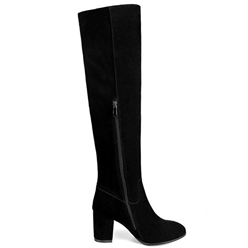 Handmade Zip Nine Side High Leather Chunky Toe Seven Classy Knee Black Boots Round Heel Women's Suede qpfwv