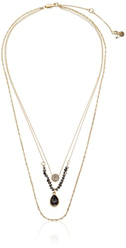 k Delicates Pave Circle and Teardrop Crystal Three Row Necklace, 16''+3'' Extender (Kenneth Cole Circle Necklace)