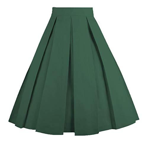 Dresstore Vintage Pleated Skirt Floral A-line Printed Midi Skirts with Pockets - Pleated Pocket