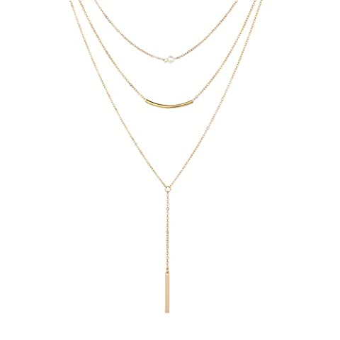 Monily Y Layer Created-Pearl Bar Choker Necklace Long Pendant Necklace for Women (Necklaces & Pendants)