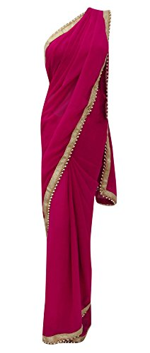 Swara Traditional Ethnic Wear Indian Beaded Lace Georgette Sari Women Clothing