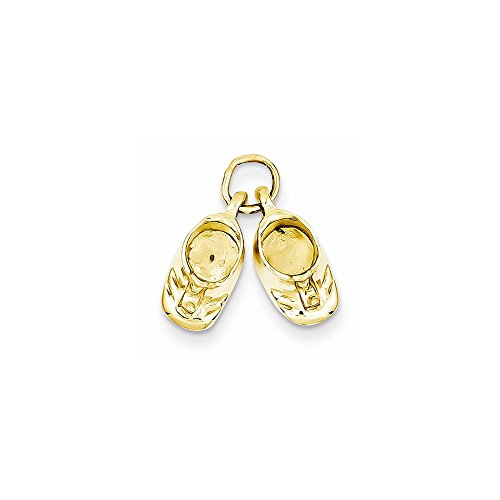 14k Polished Baby Shoes (14k Polished Baby Shoes Charm, Best Quality Free Gift Box)