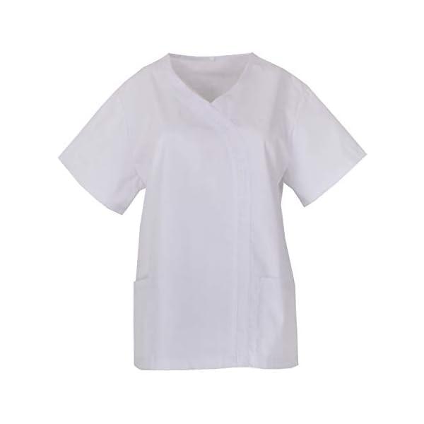 MISEMIYA Casaca Señora Mangas Cortas Uniforme Laboral Clinica Hospital Limpieza Veterinaria Sanidad Hostelería Camisa de utilidades de Trabajo para Mujer 1