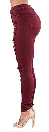 Grazioso Winered Donna Con Pantaloni Strappato A Jeans Esterne Biran Alta Vita Tasche Elasticizzato Skinny Matita Denim 8xUZawPq