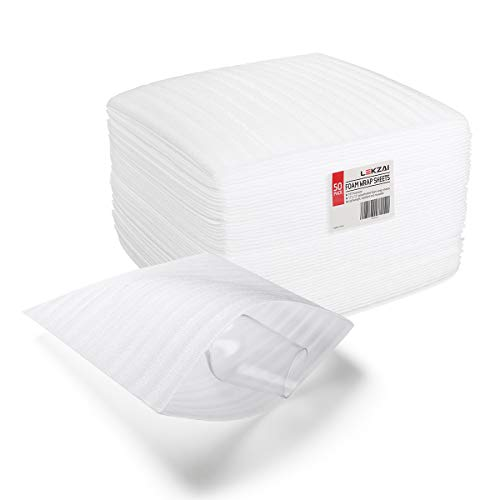 "LeKzai 12"" x 12"" Foam Pouches to Protect Dishes, Glasses, Porcelain & Fragile Items, Packing Supplies Used for Moving, 1/8"" Thick, 50 Pack"