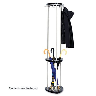 Mode Wood Costumer with Umbrella Stand, Stand Alone, Nine Hooks, Black, Sold as 1 (Costumer Umbrella Stand Coat Rack)
