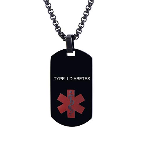 LMXXV Type 1 Diabetes Medical Alert ID Black Stainless Steel Dog Tag Pendant Necklace for Men Women