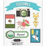 [Scrapbook Customs - Tropical Excursions Collection - Doo Dads - Self Adhesive Metal Badges - Cozumel - Journal] (Cozumel Collection)