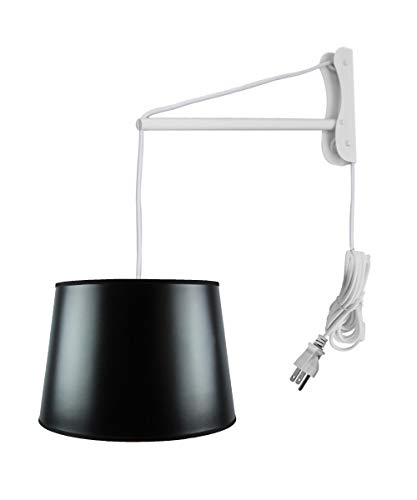 MAST Plug-in Wall Mount Pendant, 2 Light White Cord/Arm with Diffuser, Black Parchment Gold-Lined Shade - Black Brass Base Parchment Shade