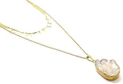 Les Bijoux Acidulés – Cadena de Piedra Natural con 2 Filas de drusas Brillantes y Cadena de Oro – Joyería Bohemia para Mujeres o Adolescentes