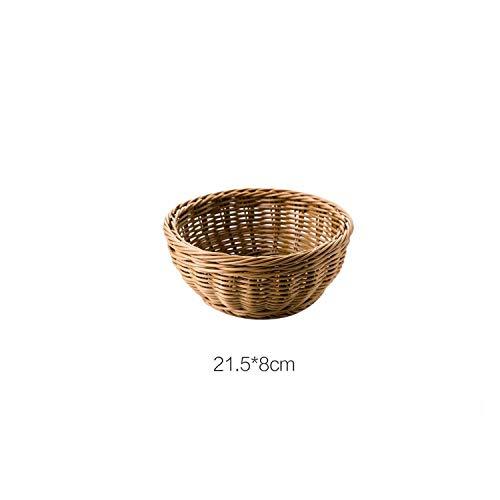 Plastic Weaving Storage Basket Rattan Bread Fruit Basket Cosmetic Sundries Storage Box Snacks Container Home Decor,Circle 21.5cm