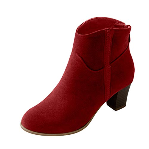 〓COOlCCI〓Women'Contemporary & Designer Boots,Women Cutout Side Strap Mid Block Chunky Heel Fashion Ankle Bootie Boots Red