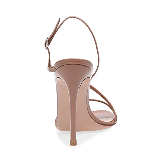 Sera Nozze Scarpe Caviglia Apricot Tacco 45 Toe Peep Sandali A Cinturino 35 Nero Nvxie Alto Taglia Festa Donna Estate Spillo zZqpF6x64w