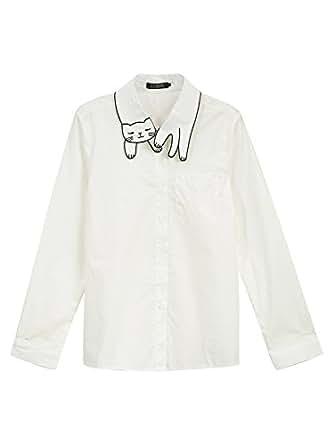 Persun Women's White Cat Pattern Collar Button Down Cotton Long Sleeve Shirt