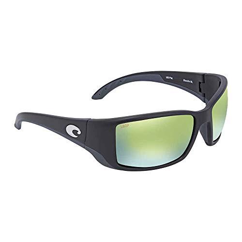 Costa Del Mar Blackfin Sunglasses, Black, Green Mirror 580 Plastic Lens