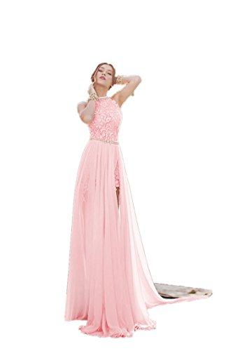 Babyonlinedress Vestido largo de fiesta de boda cuello de halter sin espalda estilo A line y elegante vestido de satén y gasa Rosa