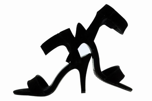 5 Stiletto M Frosted Toe Solid B Sandals Leather WeenFashion Open High Black Cow Heel US 5 Womens fqpxZ7wSX