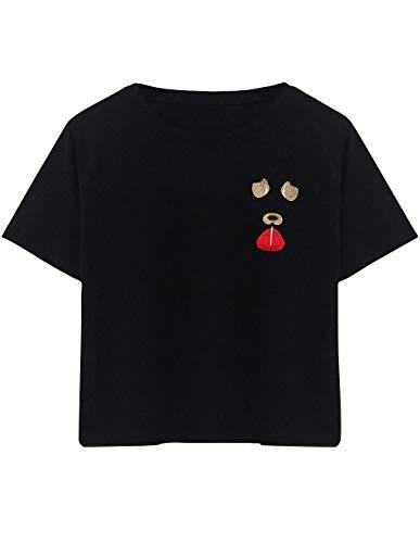 - Women Cute Dog Printed Crop Top Color Block Round Neck Tie up Summer Short Sleeve Tee T-Shirt Blouse Teen Girls