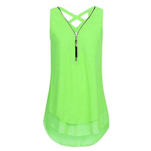 Chiffon Blouse-Han Shi Cross Back Loose Sleeveless Tank Top Zipper T Shirts (Mint Green, 3XL)