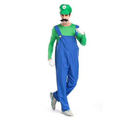 Super Mario Luigi Halloween Costume Classic Super Mario Brothers Fancy Dress Costume for Halloween Christmas Party Cosplay (Green, M)