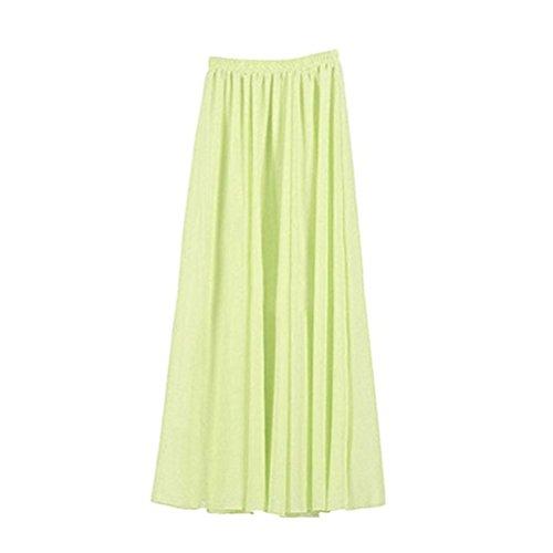 Oudan Frauen Doppelte Schicht Chiffon Gefalteter Retro Langer Rock elastischer Taillen Rock Grün