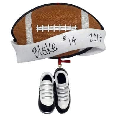Football Banner Personalized Ornament - (Unique Christmas Tree Ornament - Classic Decor for A Holiday Party - Custom Decorations for Family Kids Baby Military Sports Or Pets) ()