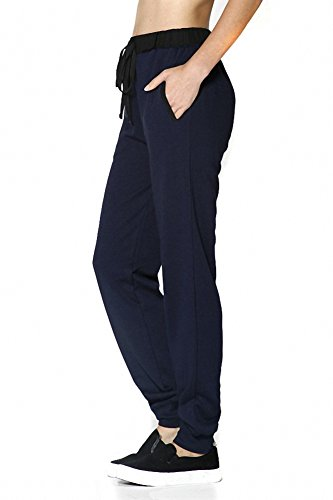 Sassy Apparel Women's Active Wear French Terry Jogger Pants with Drawstring (Small, Navy)
