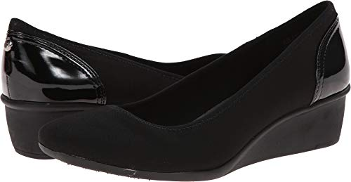 Anne Klein Sport Women's Wisher Fabric Wedge Pump, Black, 7.