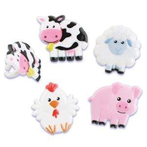 Farm Animals Cupcake Topper Rings - 24 Rings (Cow, Pig, Chicken Lamb) National Cake Supply (Animal Cupcake Rings)
