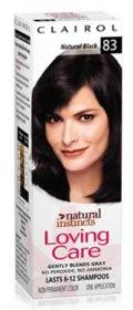 Clairol Loving Care, Hair Color Creme Lotion 83, Natural Black - 3 OZ, 1 ea
