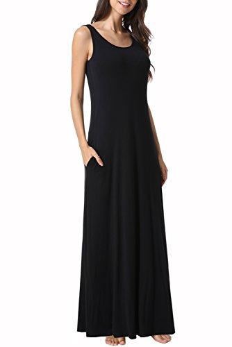 Zattcas Womens Sleeveless Tank Maxi Dress Pocket Loose Swing Summer Casual Beach Long Dress