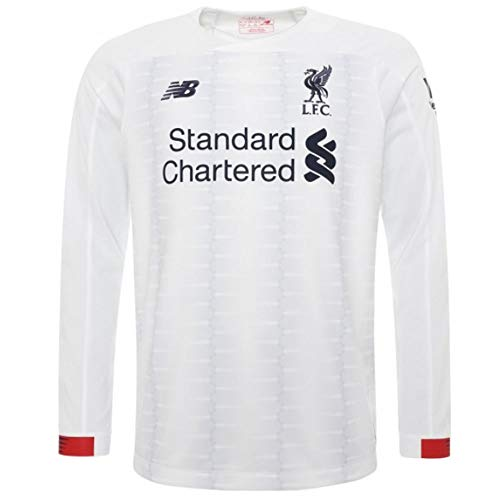 - Liverpool FC White Polyester Long Sleeve Boys Soccer Away Shirt 2019/2020 LFC Official